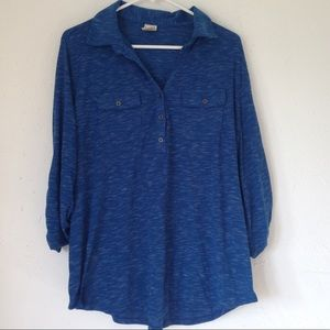 🔴Faded Glory Blue Pullover T Shirt Top Blouse 1X